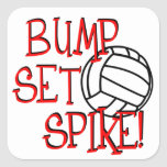 ¡Topetón, sistema, punto! Voleibol Pegatinas Cuadradases Personalizadas