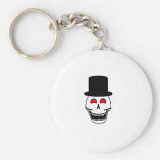 Tophat Skull Basic Round Button Keychain