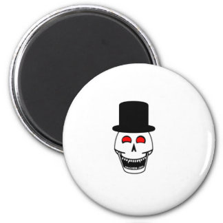 Tophat Skull 2 Inch Round Magnet
