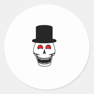 Tophat Skull Classic Round Sticker