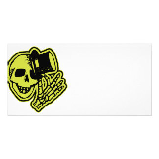 Tophat Skull Yellow Picture Card