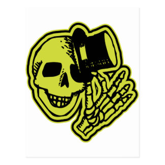 Tophat Skull Yellow Postcard