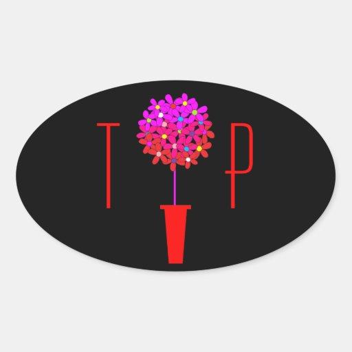 Topiary adaptable de la margarita en rosas pegatina ovalada