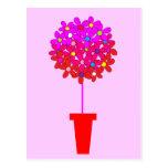 Topiary de la margarita en rosas postal