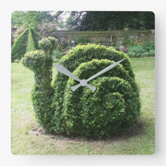 Topiary garden snail unique green square wall clock