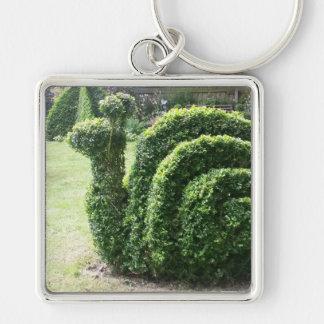 Topiary ornamental bush garden snail keychain