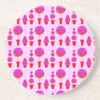 Topiary rosado del soplo de la margarita posavasos diseño