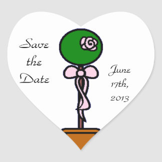 Topiary Save the Date Heart Sticker