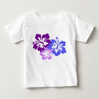 Topical Hibiscus Flower in Blue, Purple and Lilac Baby T-Shirt
