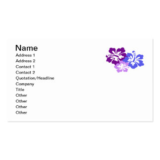 Topical Hibiscus Flower in Blue, Purple and Lilac Double-Sided Standard Business Cards (Pack Of 100)
