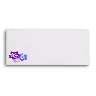Topical Hibiscus Flower in Blue, Purple and Lilac Envelope