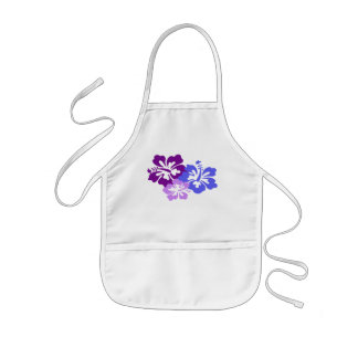 Topical Hibiscus Flower in Blue, Purple and Lilac Kids' Apron