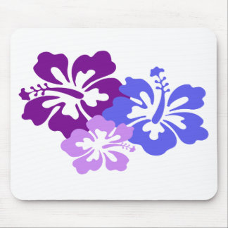 Topical Hibiscus Flower in Blue, Purple and Lilac Mouse Pad
