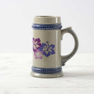Topical Hibiscus Flower in Blue, Purple and Lilac 18 Oz Beer Stein
