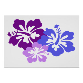 Topical Hibiscus Flower in Blue, Purple and Lilac Poster