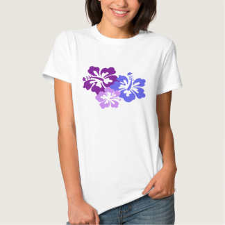 Topical Hibiscus Flower in Blue, Purple and Lilac Shirt
