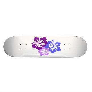 Topical Hibiscus Flower in Blue Purple and Lilac Custom Skateboard
