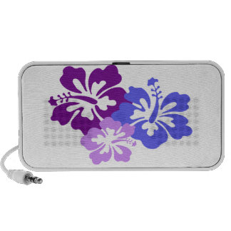 Topical Hibiscus Flower in Blue, Purple and Lilac iPod Speakers