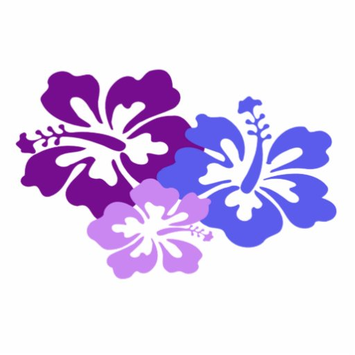 Topical Hibiscus Flower in Blue, Purple and Lilac Statuette