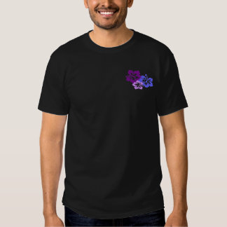 Topical Hibiscus Flower in Blue, Purple and Lilac T Shirt
