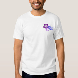 Topical Hibiscus Flower in Blue, Purple and Lilac T-shirt