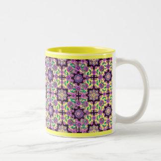 TOPKAPI, black and yellow ,purple ,green, pink Two-Tone Coffee Mug