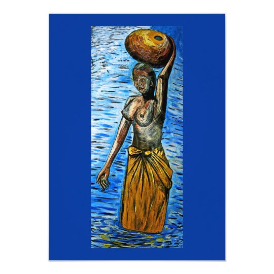 Topless African Woman Carrying Basket on Head Card