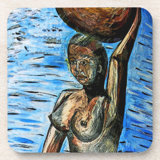 Topless African Woman Carrying Basket on Head Coaster