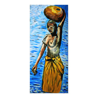 Topless African Woman Carrying Basket, Surreal (2) Card