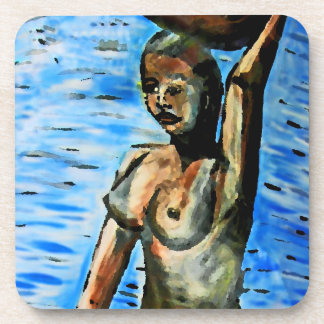 Topless African Woman Carrying Basket, Surreal (2) Coaster