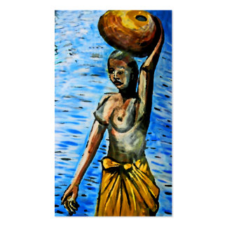 Topless African Woman Carrying Basket, Surreal (2) Double-Sided Standard Business Cards (Pack Of 100)