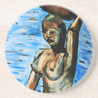 Topless African Woman Carrying Basket, Surreal (2) Drink Coaster