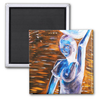 Topless African Woman Carrying Basket, Surreal 2 Inch Square Magnet