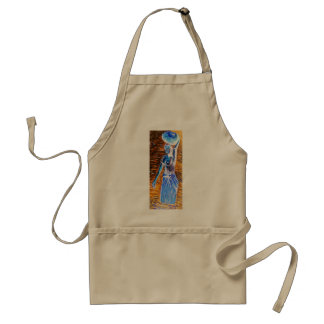 Topless African Woman Carrying Basket, Surreal Adult Apron
