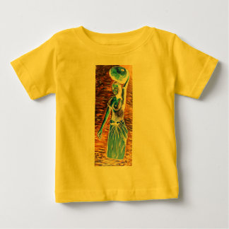 Topless African Woman Carrying Basket, Surreal Baby T-Shirt