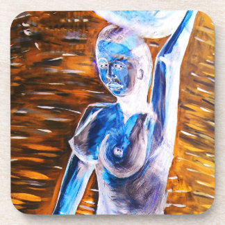 Topless African Woman Carrying Basket, Surreal Beverage Coaster