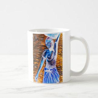 Topless African Woman Carrying Basket, Surreal Coffee Mug