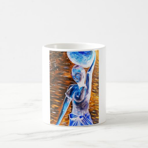 Topless African Woman Carrying Basket, Surreal Mugs
