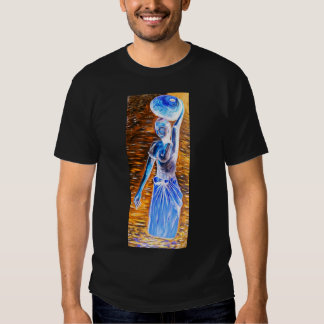 Topless African Woman Carrying Basket, Surreal Tshirt