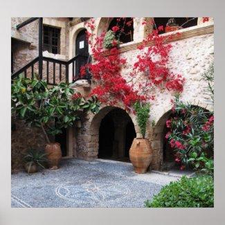 Toplou Monastery Churches courtyard POSTER