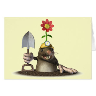 Topo en un agujero tarjeta de felicitación