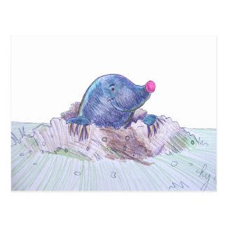 Topo y Molehill lindos del dibujo animado Postal