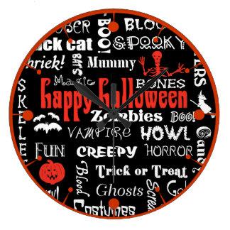Topografía de la noche del susto de Halloween Reloj Redondo Grande