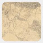 Topografía de Los Ángeles y de San Bernardino Pegatina Cuadrada