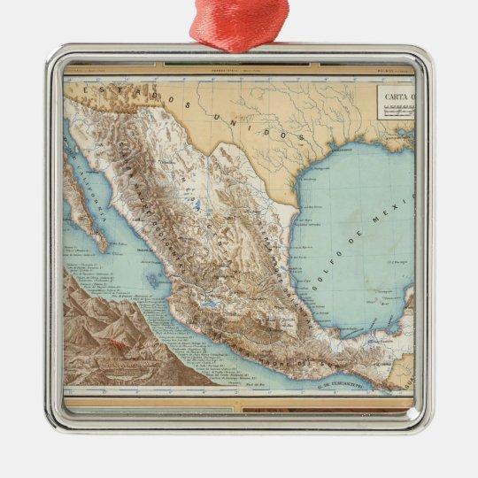 Topografía de México Adorno Navideño Cuadrado De Metal