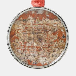 Topografía del siglo XV de Palestina de la Tierra Adorno Redondo Plateado