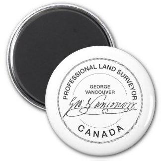 Topógrafo Canadá de la tierra de George Vancouver Imán Redondo 5 Cm