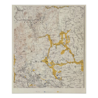 Topographic and Glacial Map of New Hampshire 2 Print