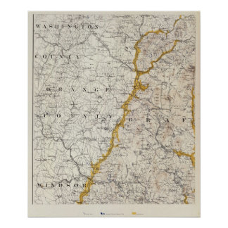 Topographic and Glacial Map of New Hampshire 2 Posters