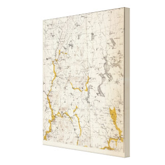 Topographic and Glacial Map of New Hampshire Canvas Print